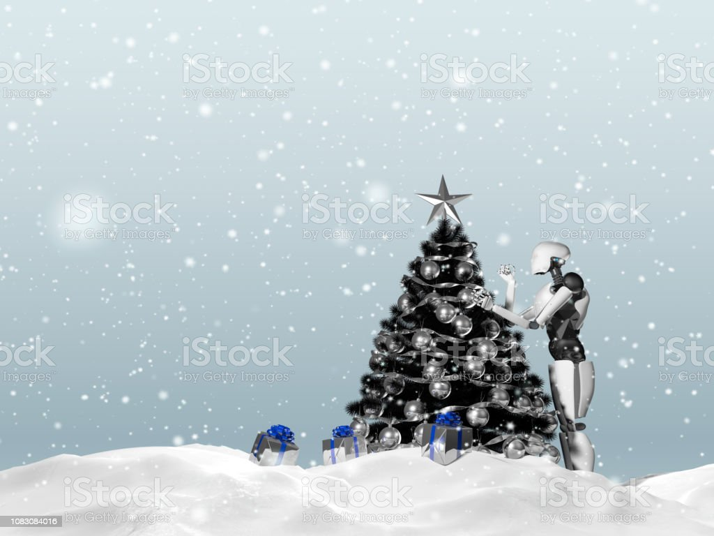 3D rendering of artificial intelligence robot decorating a Christmas tree on a snowy day. Gift boxes can be seen. stock photo