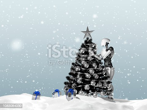 1067810314 istock photo 3D rendering of artificial intelligence robot decorating a Christmas tree on a snowy day. Gift boxes can be seen. 1083084030