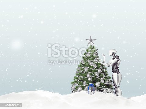 1067810314 istock photo 3D rendering of artificial intelligence robot decorating a Christmas tree on a snowy day. Gift boxes can be seen. 1083084040
