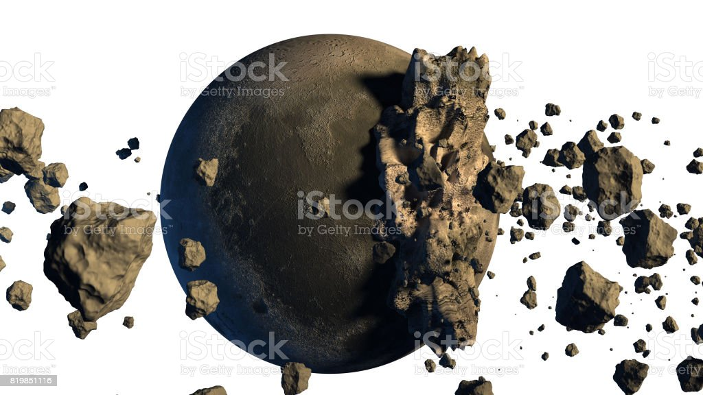 3D Rendering of asteroids. stock photo