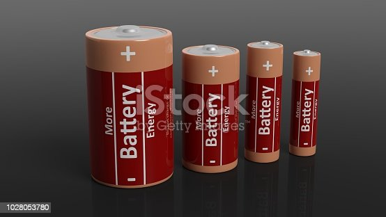 istock 3D rendering of batteries in all sizes, isolated on black background. 1028053780