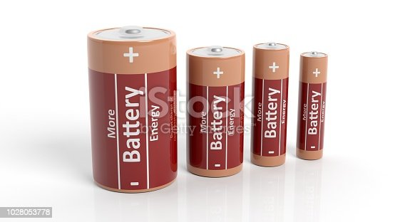 3D rendering of batteries in all sizes, isolated on white background.