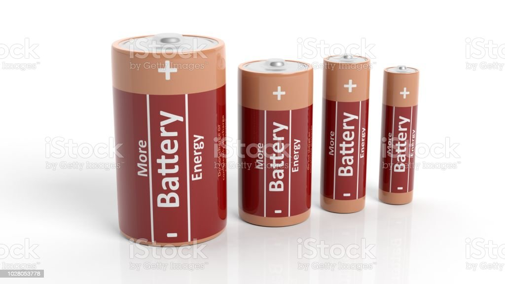 3D rendering of batteries in all sizes, isolated on white background. stock photo