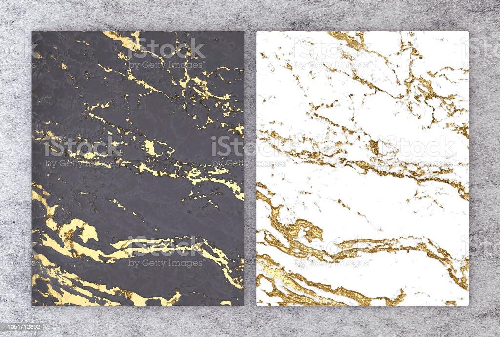 結婚式やグリーティングの招待カードまたはプロジェクト インテリア デザイン装飾的なタイル、高品質のシームレスなリアルなテクスチャ背景の金箔入り黒と白大理石の 3 D レンダリングし ストックフォト