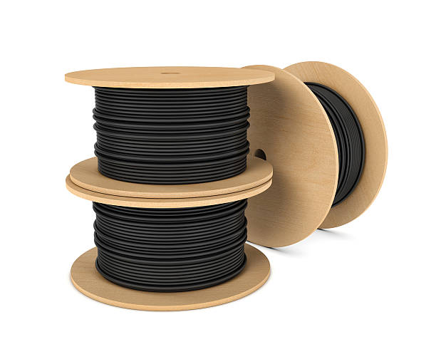 Rendering of black industrial underground cable on large wooden reel - Photo