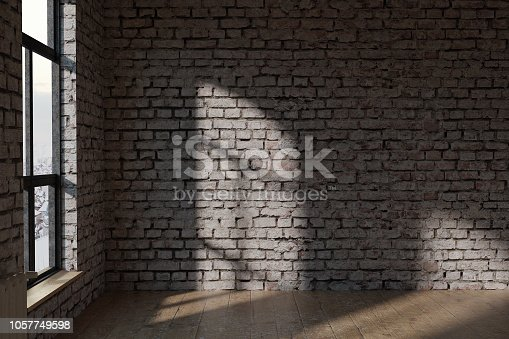istock 3D rendering of blank white brick wall with old parquet floor in loft 1057749598