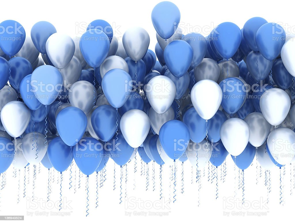 Rendering of blue and silver party balloons stock photo