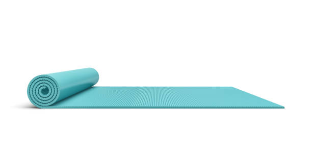 Rendering of blue half rolled yoga mat isolated on white background stock photo