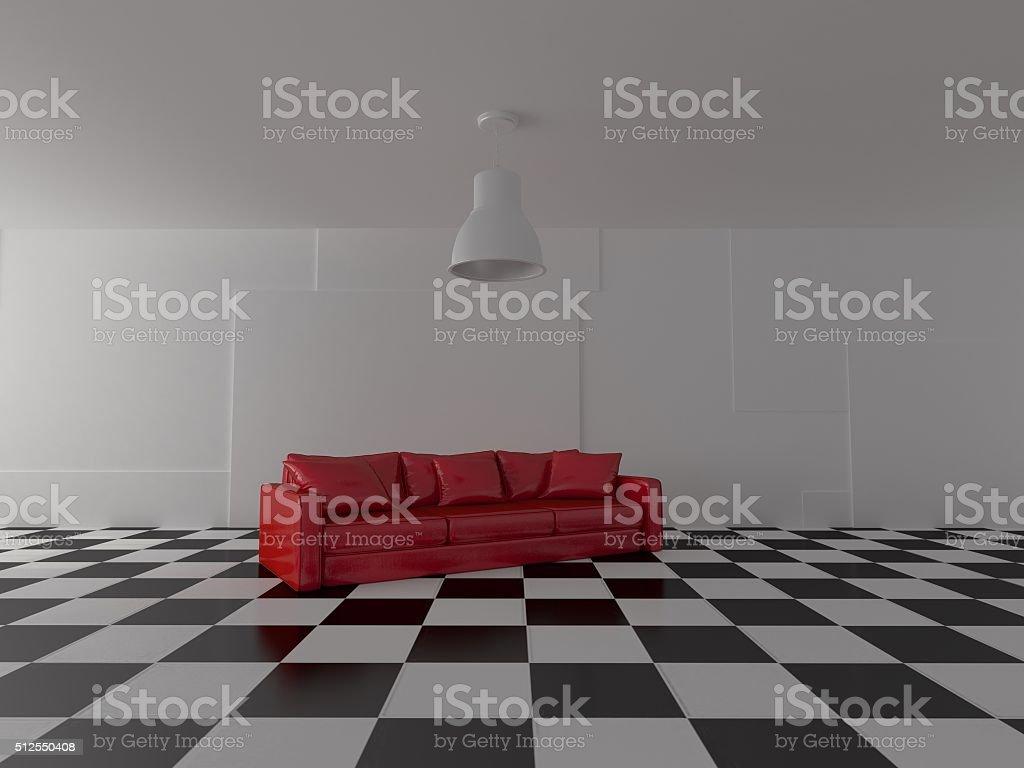 Pavimento Rosso Lucido : Prospettiva di brillante divano rosso su nero lucido pavimento