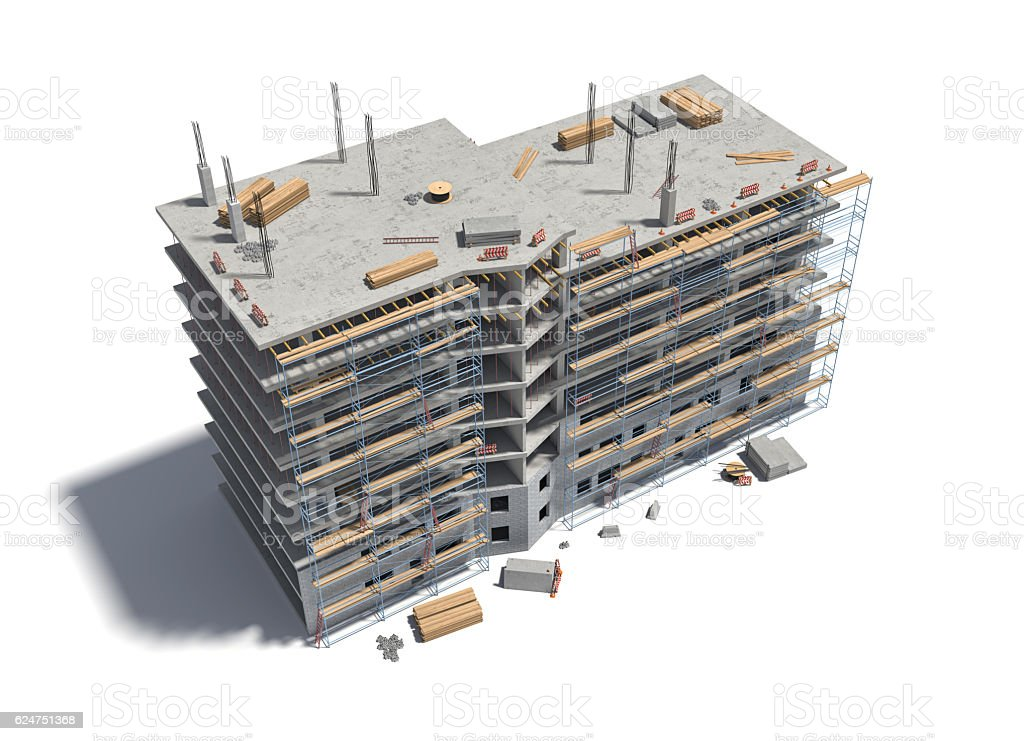 Rendering of building under construction with scaffolding and different equipment. stock photo