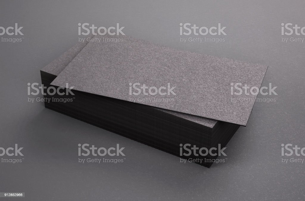 3D Rendering Of Business Card Blank Template Black Cards On Background Royalty