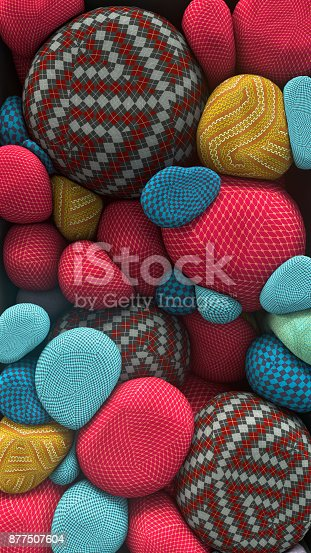 istock 3D rendering of colored floating spheres with a knitted texture. Abstract composition 877507604