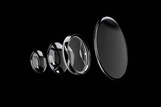 rendu 3d de l'objectif concave et convexe sur fond noir - convexe photos et images de collection
