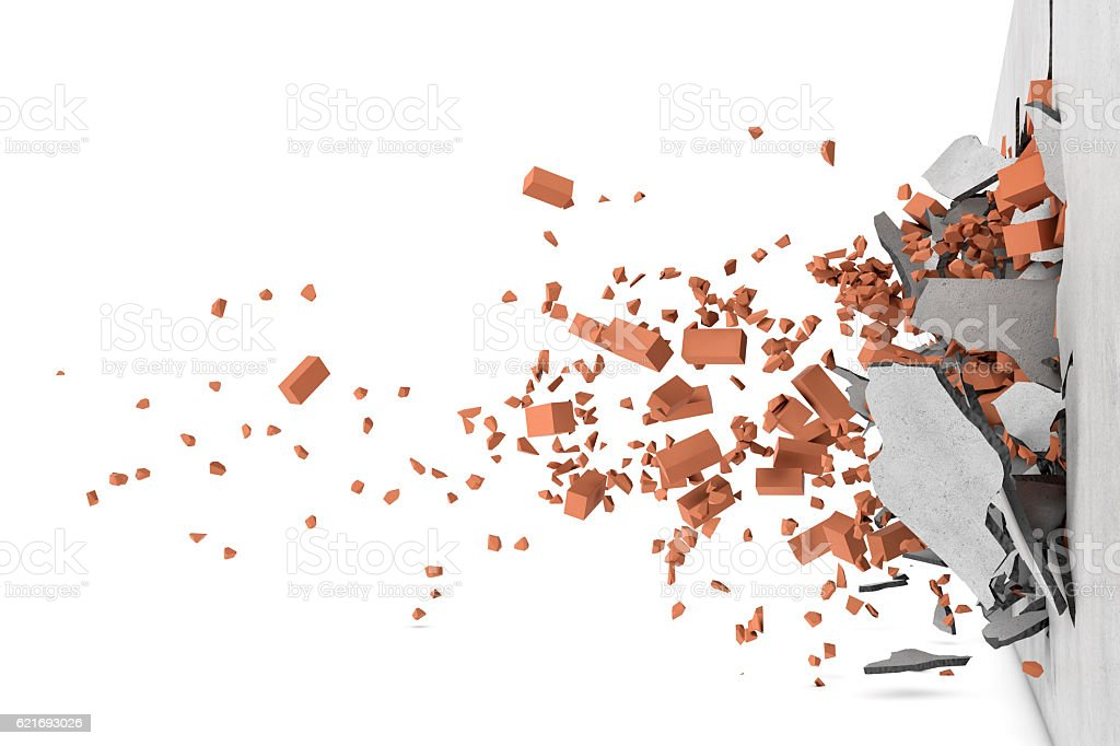 Rendering of concrete broken wall with rusty red bricks and stock photo