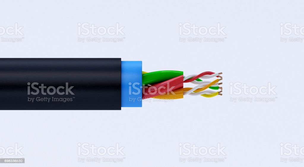 3d Rendering Of Copper Electric Wire Cable In Multicolored ...