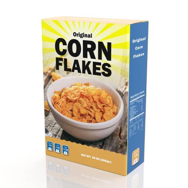 3d rendering of corn flakes paper packaging, isolated on white background. - muesli imagens e fotografias de stock