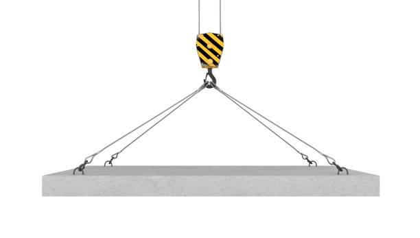 Rendering of crane hook lifting concrete panel on the white stock photo