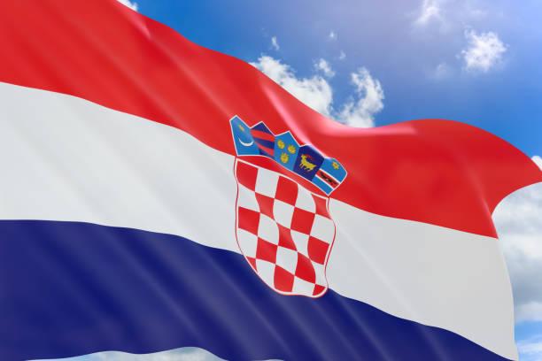 Render 3D de la bandera de Croacia ondeando sobre fondo de cielo azul - foto de stock