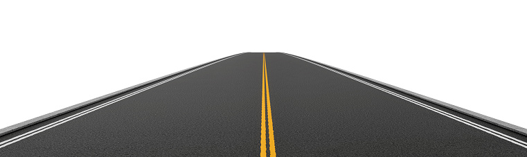 621693226 istock photo Rendering of empty two-way asphalt road going straight and 621693226