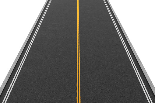621693226 istock photo Rendering of empty two-way road covered with asphalt going 622902576