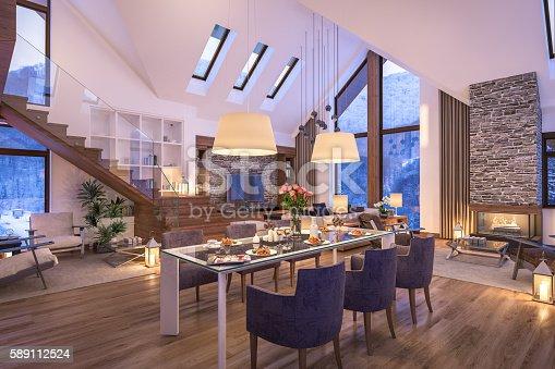 istock 3D rendering of evening living room of chalet 589112524