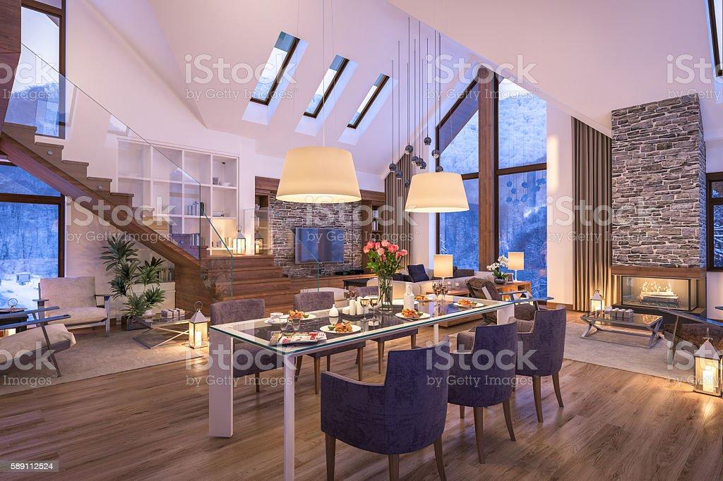 3D rendering of evening living room of chalet ストックフォト