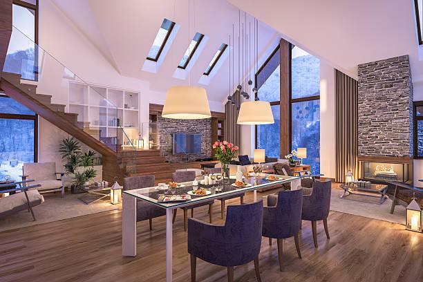3d rendering of evening living room of chalet - 田舎のライフスタイル ストックフォトと画像