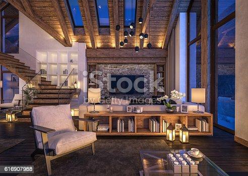 istock 3D rendering of evening living room of chalet 616907988