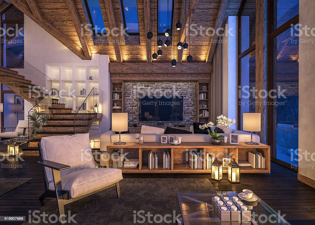 3D rendering of evening living room of chalet stock photo