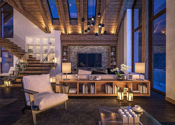 3d rendering of evening living room of chalet - 現代 風格 個照片及圖片檔