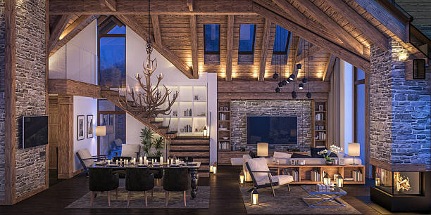 3D rendering of evening living room of chalet 3D rendering of cozy living room on cold winter night in the mountains, evening interior of chalet decorated with candles, fireplace fills the room with warmth. chalet stock pictures, royalty-free photos & images
