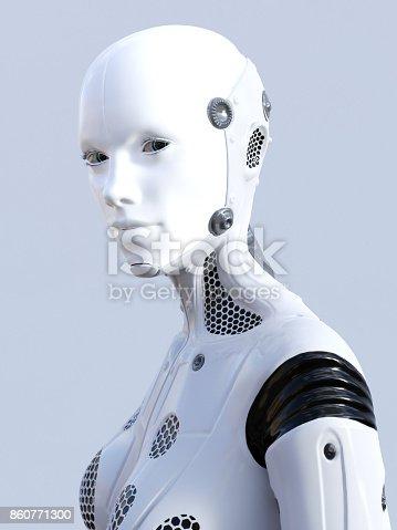 istock 3D rendering of female robot face. 860771300