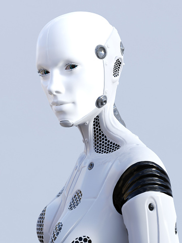 istock 3D rendering of female robot face. 860771300