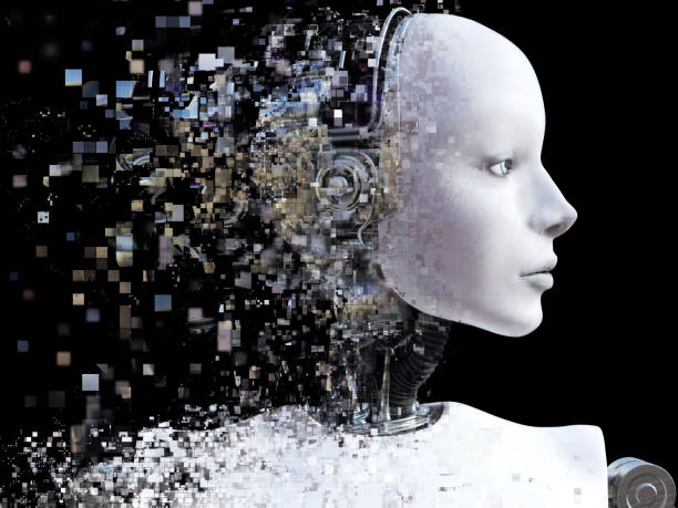 3D rendering of female robot head that shatters. stock photo