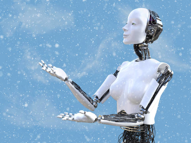 3D rendering of female robot in snow. stock photo