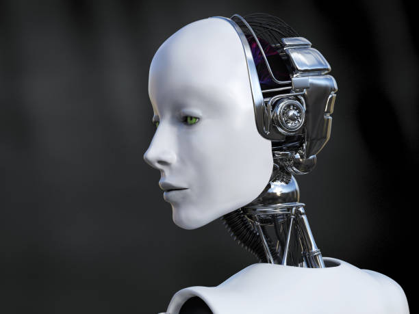 3D rendering of female robot looking sad. stock photo