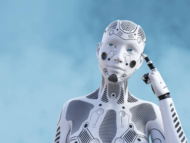 3D rendering of female robot thinking about something. stock photo