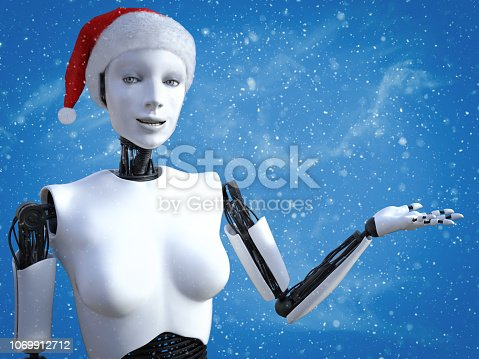1067810314 istock photo 3D rendering of female robot wearing Santa hat. 1069912712