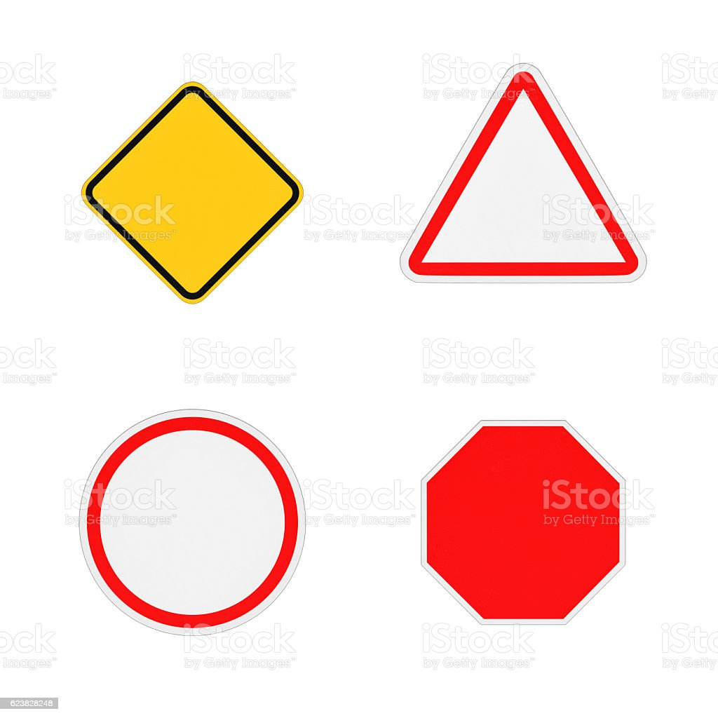 Rendering of four close-up blank road signs isolated on stock photo