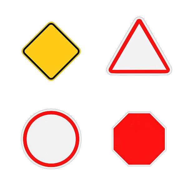 rendering of four close-up blank road signs isolated on - vem - fotografias e filmes do acervo