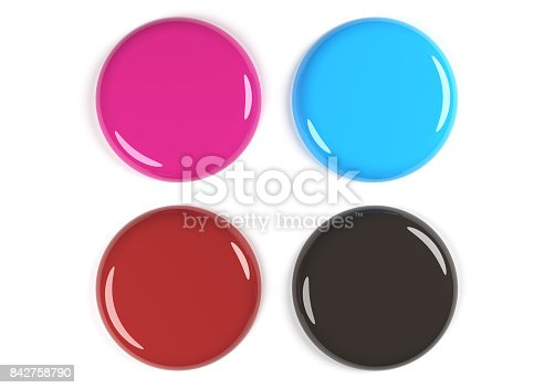 istock 3D Rendering Of Four Colored Glossy Empty Badges 842758790