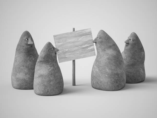 3D rendering of four stone figures with faces. stock photo