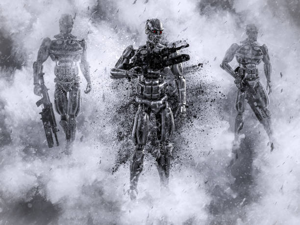 3D rendering of futuristic mech soldiers in war. stock photo
