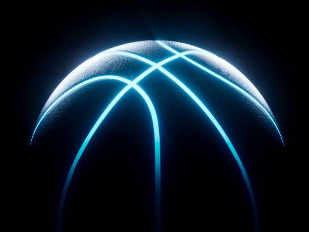 3D Rendering of futuristic neon basketball sitting in darkness 3D rendering of single black basketball with bright blue glowing neon lines sitting in completely black surroundings basketball ball stock pictures, royalty-free photos & images
