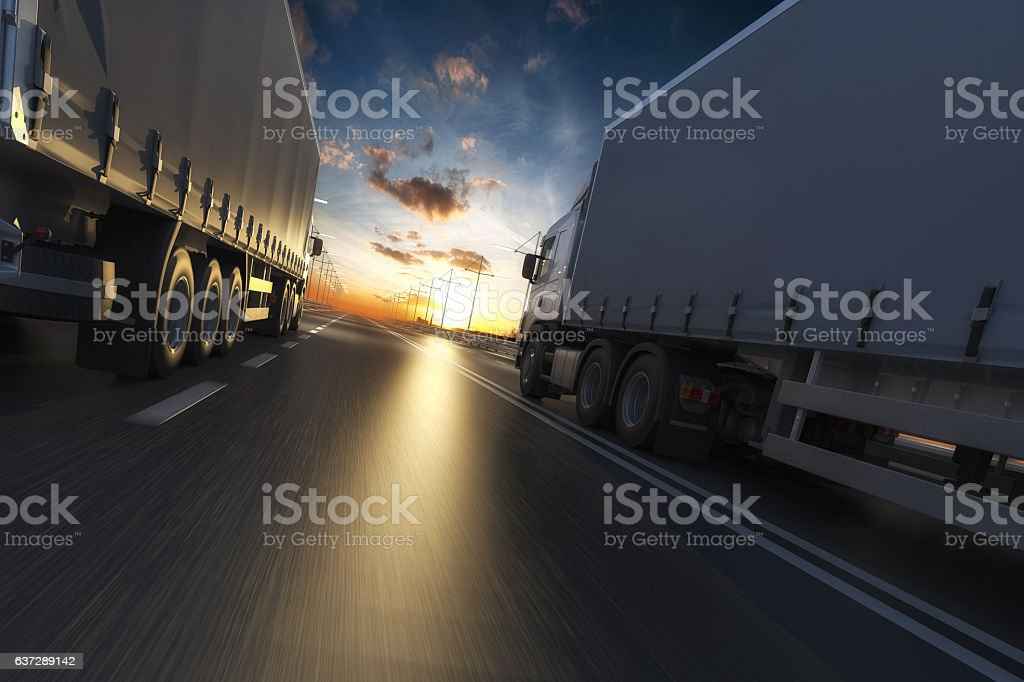 3D rendering of generic transportation concept at dawn - Photo