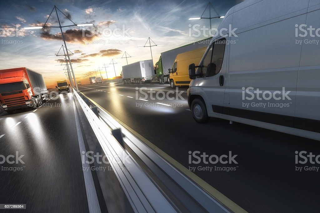 3D rendering of generic transportation concept at dawn – Foto