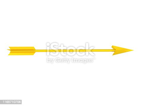 3D Rendering of golden arrow. 3D Rendering isolated on white.