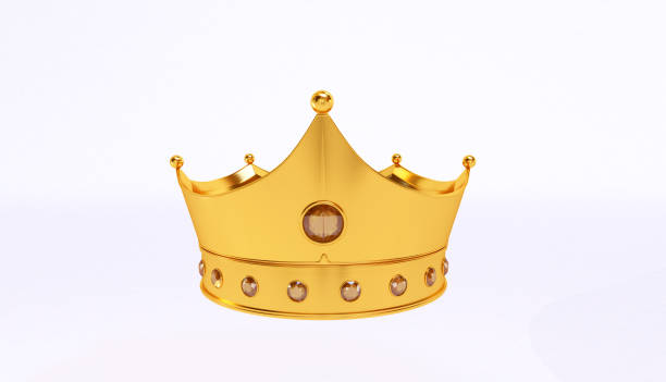 白い背景の上の黄金の王冠の分離 3 D レンダリングします。 ストックフォト