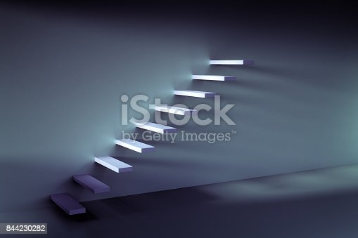 1154986671 istock photo 3D rendering of growing up stair on the wall 844230282
