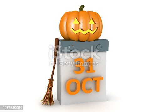 3D Rendering of Halloween concept image. 3D Rendering isolated on white.